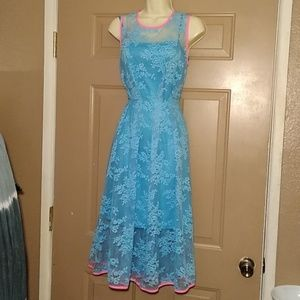 NWIT EVA FRANCO SAMANTHA BLUE LACE DRESS-SIZE 6